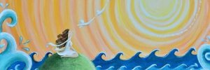 This is a painting I painted of a woman re-balancing her solar plexus.
