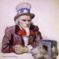 Uncle Sam with empty treasury, 1920, by James Montgomery Flagg. Reference to economic situation at end of World War I.