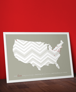 Love Is A Journey, Print | chevron, hearts, grey background