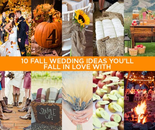 10 FALL WEDDING IDEAS YOU'LL FALL IN LOVE WITH, pumpkins, sunflowers, hay bales, blankets, apples, cowgirl boots