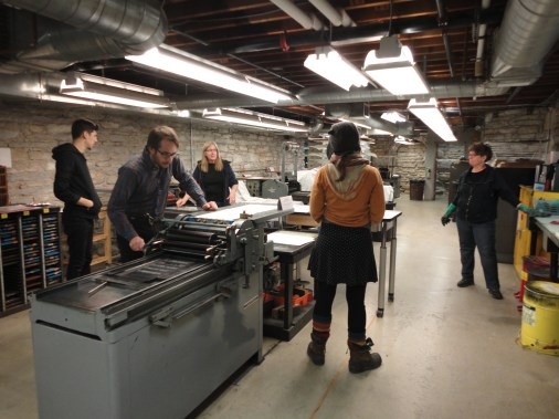 The Jerome Foundation mentees and CB working in the printing studio at MCBA.