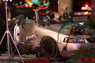Severely damaged vehicle