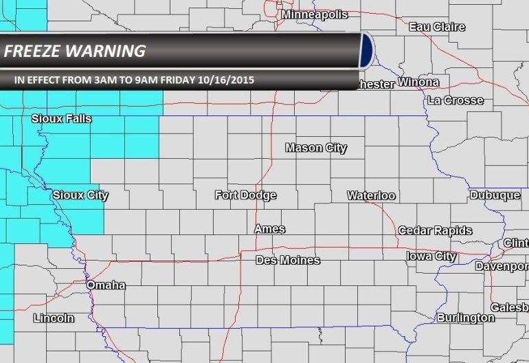 Northwest Iowa Freeze Warning