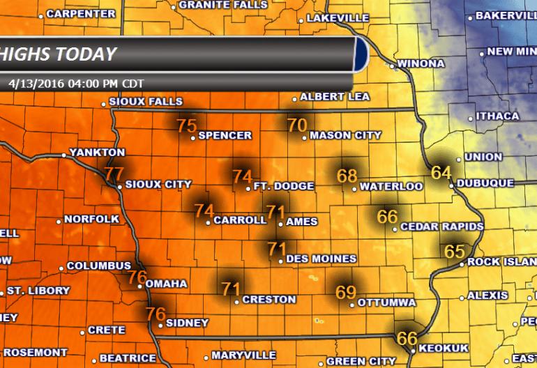 Iowa High Temperatures Wednesday