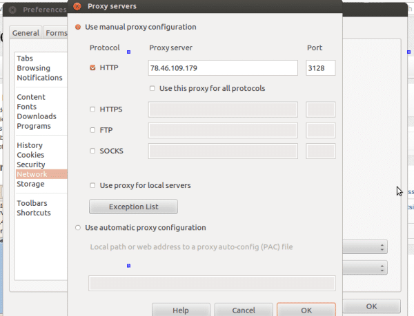 changing ip with proxy in opera