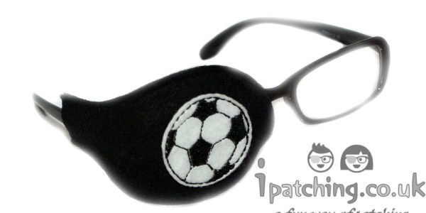 Football-On-Black-Plastic-Frame-Orthoptic-Eye-Patch