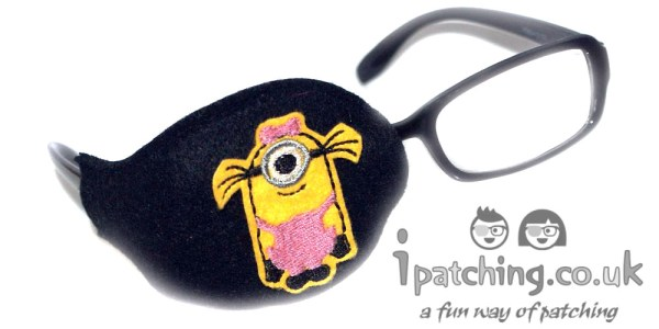 Minion-Girl-On-Black-Plastic-Frame-Orthoptic-Eye-Patch