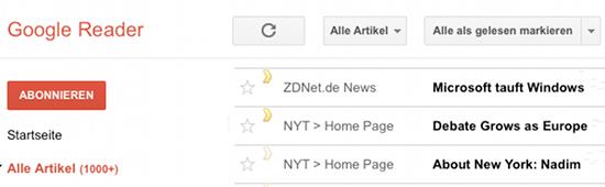 Artikel aus Google Reader in der pocket speichern