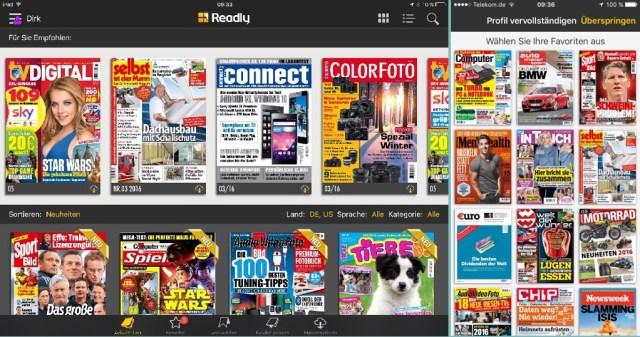 Readly Magazine auf dem iPad und iPhone