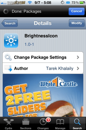 brightnessicons 280x420 Awesome New Cydia Tweak Allows Users Control Brightness Using Volume Buttons:BrightnessiCONS