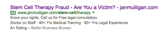 stem cell therapy fraud ad