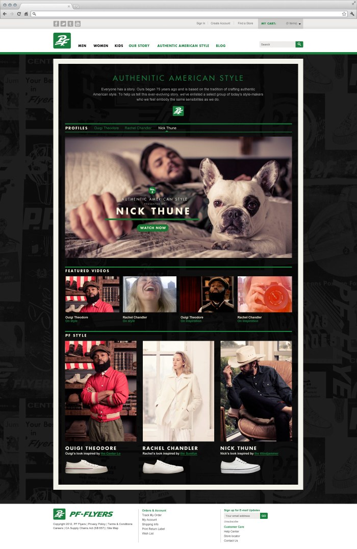 PF Flyers campaign homepage