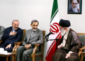 Ayatollah Khamenei Greets Manouchehr Mottaki, Then Foreign Minister (Left) during a meeting in 2010 with the President Ahmadinejad's Cabinet Members. In the Middle is Ali AKbar Velayati, Supreme Leader's Special Adviser on International Affairs.