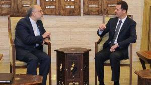 Ali Akbar Salehi and Bashar al-Assad (Photo Credit: SANA)