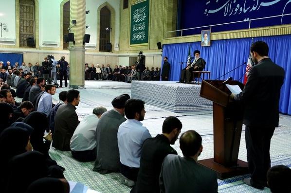 A student talking to the Iranian supreme leader Ayatollah Khamenei. July 28, 2013.
