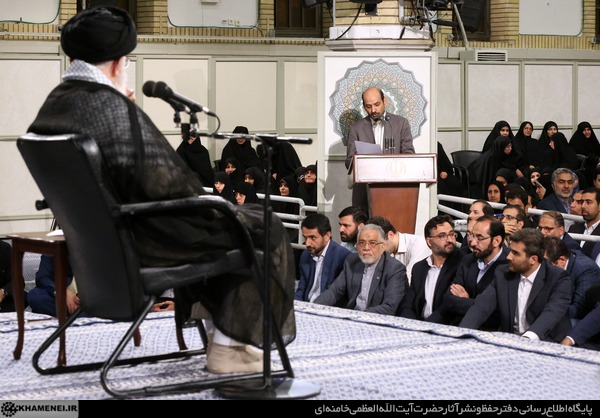 Ayatollah Khamenei  meeting with A group of university professors and researchers on June 10, 2018. (Photo: Khamenei.ir)