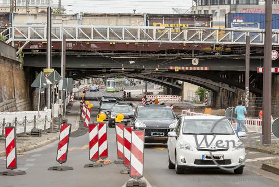 Ab Montag, 13. Juli,  kommt es zur Vollsperrung  unter den Bahnhofsbrücken –  Baustelle City-Tunnel Magdeburg