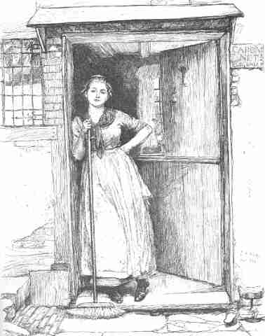 Mom at door with broom