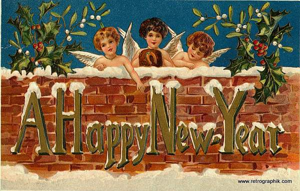 A Happy New Year - Vintage Card