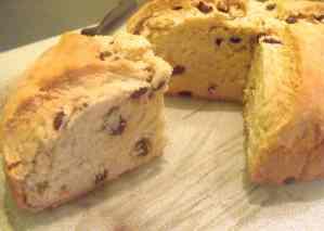 Irish Raisin Soda Bread Cut Open