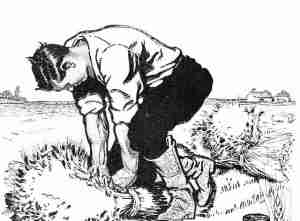 Vintage Clipart - Father Working