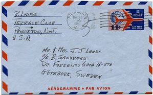 Old Aerogramme Letter With Checkered Border