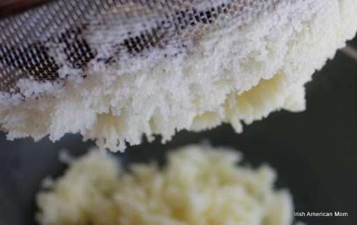 Pressing potato through a sieve