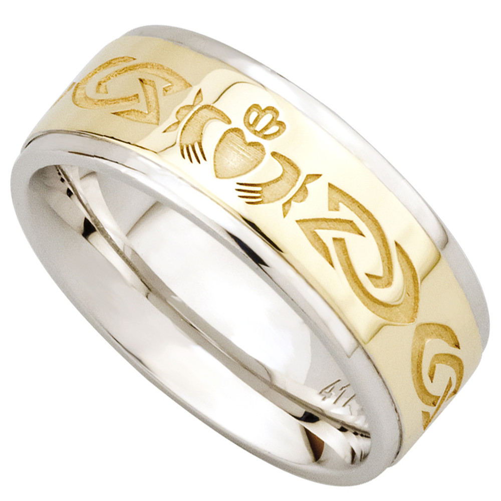 claddagh ring 10k gold and sterling silver celtic knot mens ring claddagh wedding bands Claddagh Ring 10k Gold and Sterling Silver Celtic Knot Claddagh Mens Ring