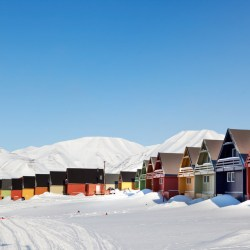 A city detail of Spitsbergen, Svalbard, Norway