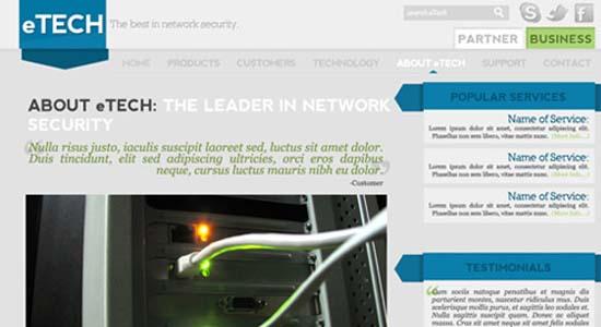 Clean Tech Website Layout