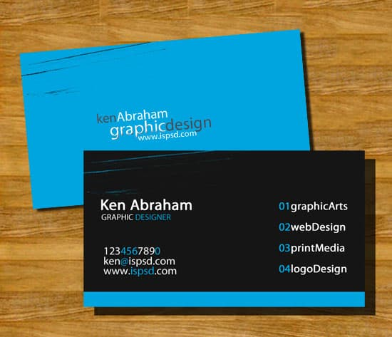 blue business card