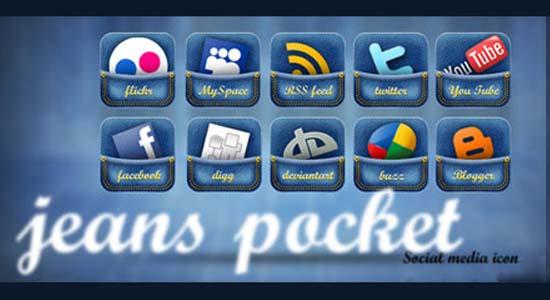 Jeans Pocket Social Media Icon Set
