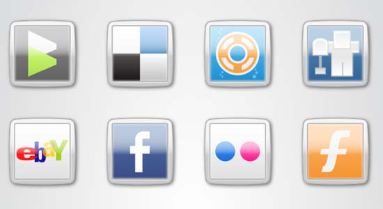 MSN Style Social Icons