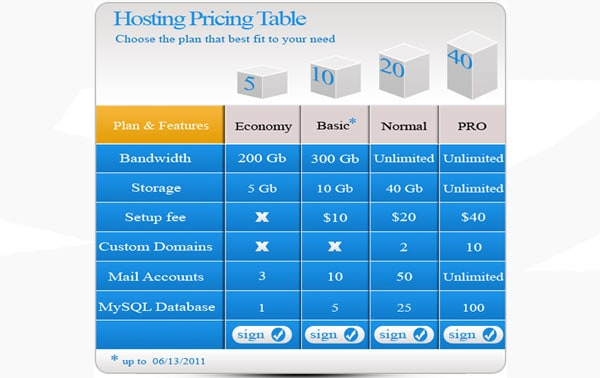 Pricing Table FREE psd template