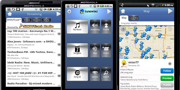 tunewiki music player