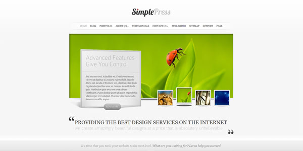 simplepress photography theme