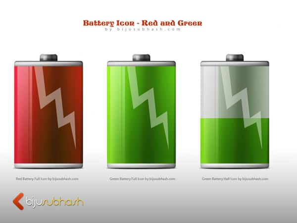 Battery Icon-Red and Green PSD