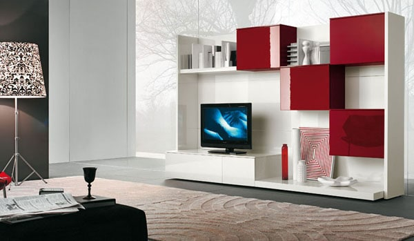 Cool Red and white TV wall mount