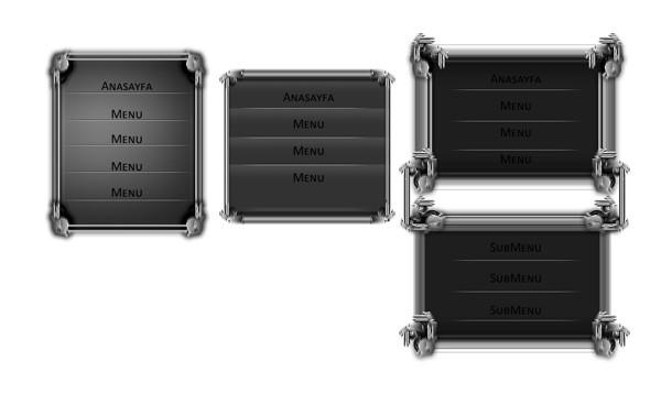 Metalic Menu Set PSD