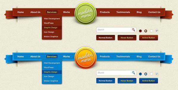 Modern menu & GUI elements PSD