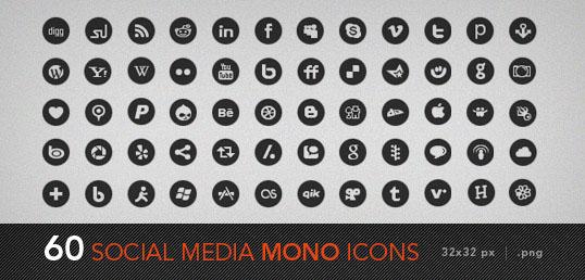 social media mono icons