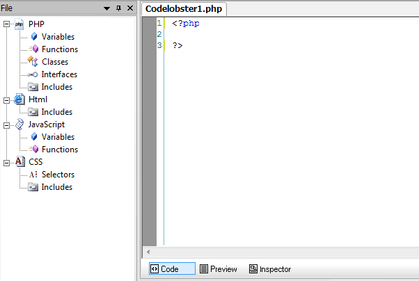 codelobster PHP interface