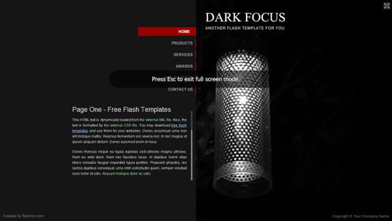 flash free dark web template