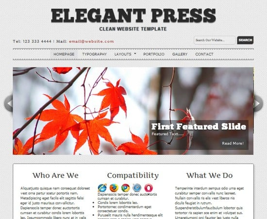 15 ElegantPress HTML5 and CSS3 Template
