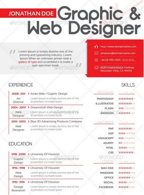 modern and professional resume template examples 5