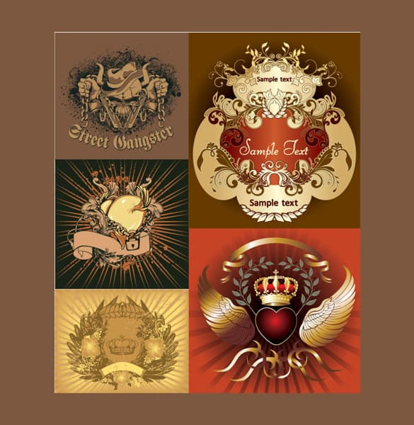 5 Detailed Decorative Vector Badges