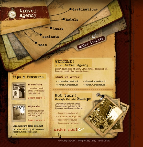 2 Page Travel Agency Templates PSD