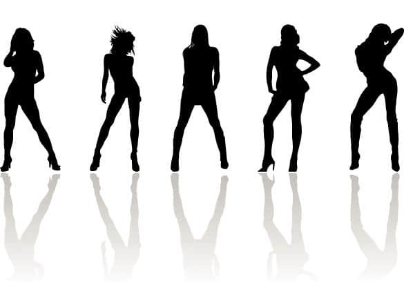 Posing Fashion Women Silhouette Vectors