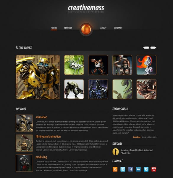 Sleek CreativeMass Web Template PSD