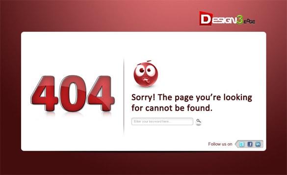 404 Error Page Icon Template PSD